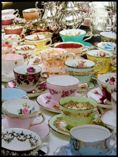 Tea cups collection  Image Source: http://Victoria magazine