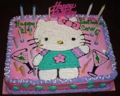Hello Kitty Martini 21st Birthday Cake by MissCorie on Cake Central