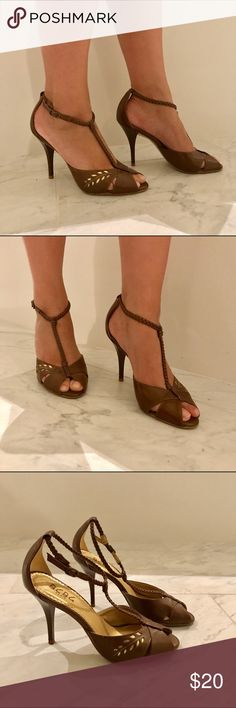 """BCBG brown open toe pumps size 7 BCBG brown open toe pumps size 7. Perfect for any occasion work or wedding. 3.5"""" heel. Bundle and save 🎈👍😉 BCBG Shoes Heels"""