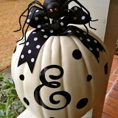 White monogrammed  pumpkin for Halloween...just made this last night at our first craft night :)