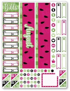 AUG Monthly View Watermelon Planner Stickers - Planner Penny