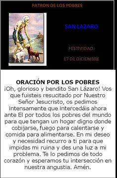 San Lázaro, patrono de los pobres.