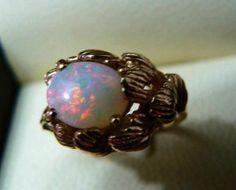 10k Gold Opal Ring Australian Solid Opal
