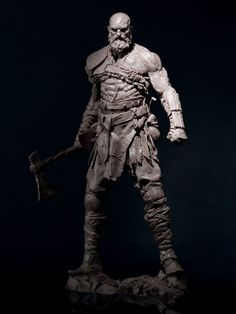 View an image titled 'Kratos Sculpt' in our God of War art gallery featuring official character designs, concept art, and promo pictures. Zbrush Character, Character Art, Fantasy Warrior, Fantasy Art, Rpg Map, Kratos God Of War, Concept Art World, Modelos 3d, 3d Models