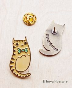 Cat Pin by boygirlparty  http://shop.boygirlparty.com/products/bowtie-cat-enamel-pin