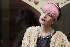 In Paris, wearing Azzedine Alaia dress, Sonia Rykiel Bolero, Charlotte Olympia shoes, MiniMe Paris hair accesories, MiniMe Paris necklace