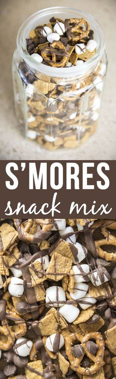 S'mores Snack Mix - This 4 ingredient snack mix is so simple to make and it has…