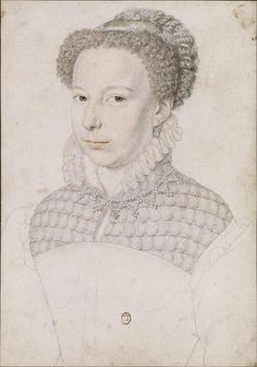 1570 Marguerite de Valois by François Clouet (location unknown)      Marguerite de Valois is shown wearing gorgeous reticulated partlet and carcanet necklace in this Clouet color drawing.