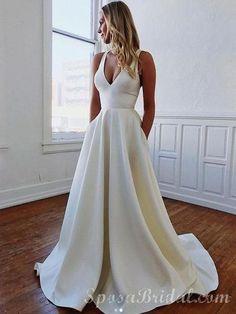 4f3987c736 Custom Simple V-Neck Long A-line High Quality Long Elegant Wedding Dresses