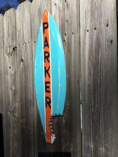 Surfboard Custom Shark Bite Nursery Decor Beach Coastal Home by justbeachyshop on Etsy