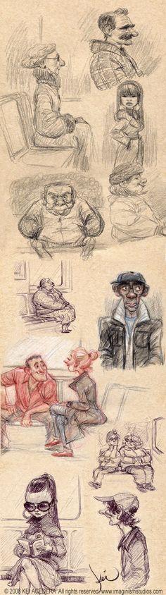 Subway sketches by Kei Acedera