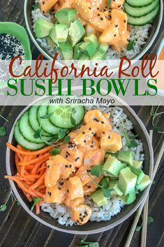 Learn how to easily make your favorite roll of sushi at home! These California Roll Sushi Bowls are cost effective, delicious, and minimal cooking required. California Roll Sushi, California Rolls, Seafood Recipes, Vegetarian Recipes, Cooking Recipes, Healthy Recipes, Easy Sushi Recipes, Lunch Recipes, Meal Prep Recipes