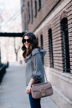Ruffle gingham top and manolo heels make up this winter to spring transition outfit inspiration | Sequins and Stripes