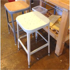"Lyon industrial stools - one painted and one with wood ""seat"" - slight differences are nice within the "" family"""