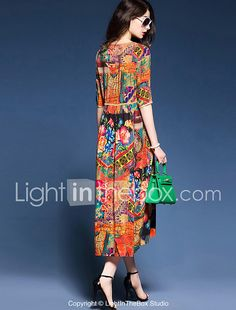 YHSP Women s Beach Holiday Plus Size Simple Chinoiserie Sophisticated A  Line Sheath Swing Dress,Print fc967cd1b15b