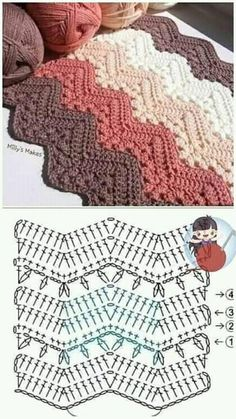 Crochet Bedspread Pattern, Crochet Square Patterns, Crochet Stitches Patterns, Crochet Diagram, Crochet Chart, Crochet Designs, Knitting Patterns, Crochet Ripple, Crochet Motif