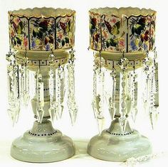 Pair of Enameled Victorian Lusters With Butterflies And Prisms   c.1880