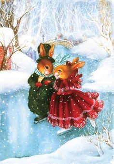 SUSAN WHEELER ~ bunny love on skates ~ Christmas ~ winter