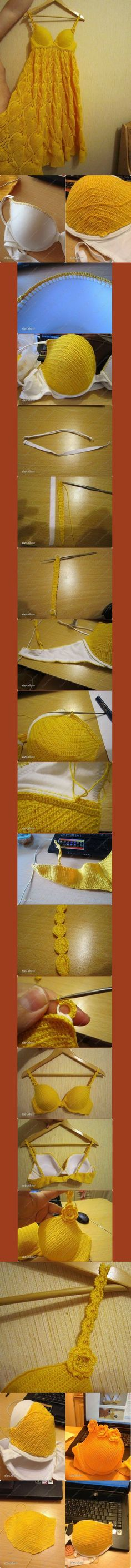 Cobertura para corpiños al crochet. I can't read Russian and I'd probably start with a balconette or sports bra for more coverage, but I like this idea for a sundress. Crochet Bra, Mode Crochet, Crochet Motifs, Crochet Woman, Crochet Blouse, Crochet Crafts, Crochet Clothes, Crochet Stitches, Crochet Projects
