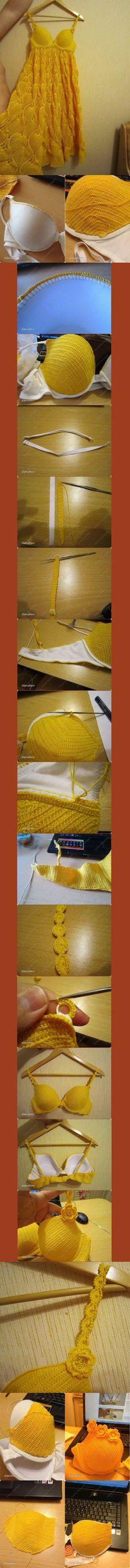 Обвязка бюстгальтера крючком или верх для летнего платья