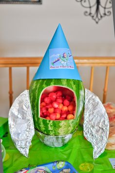 Watermelon rocket for my son's Buzz Light Year birthday party.