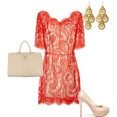 Elegant red lace dress with classic heels Bethenny might wear  ;-)
