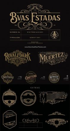 BVAS ESTADAS --- is a blend of serif and victorian style. With a formal impression on Lowercase and victorian stylistic Uppercase, it will be very interesting Tattoo Lettering Fonts, Lettering Design, Hand Lettering, Logo Typo, Victorian Fonts, Vintage Typography, Vintage Logos, Tattoo Graphic, Creative Fonts