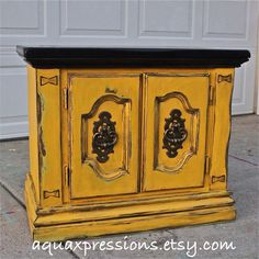 Yellow Night Stand/ Retro End Table/ Vintage by AquaXpressions, $175.00