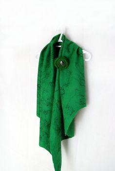 Green Emerald Black Felted Wool Shawl Wrap Scarf by elenasfelting, $75.00