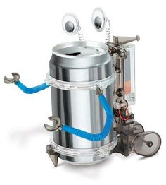 Make a real robot from your favorite beverage can! The Tin Can Robot Kit contains everything you need (except your recycled tin can and batteries) to make a walking, wobbling bug-eyed robot. The robot has plastic wheels, a clear engine, and e Tin Can Robots, Robots For Kids, Kids Toys, Stem Projects, Projects For Kids, Science Projects, Craft Projects, Science Crafts, Engineering Projects