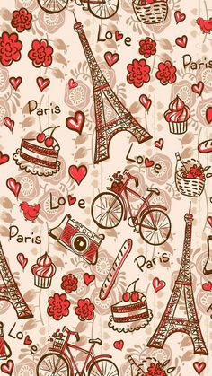 Paris Love. Tap to see more Lovely Pattern backgrounds for iPhone wallpapers! - @mobile9