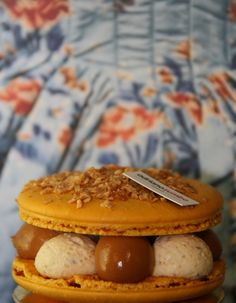macaron - salted toffee, cereal creme legere, cereal custriano, banana compote, baked rice puding, caramel