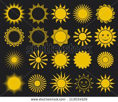 suns - elements for design (set of vector suns, suns collection) - stock vector TOP ROW 4 FROM LEFT Wall Stencil Patterns, Doodle Patterns, Watercolor Books, Floral Watercolor, Sunshine Crafts, Sun Drawing, Stencil Painting On Walls, Book Design, Design Set