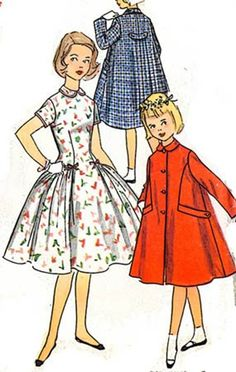 Vintage 50s Simplicity 1502  Full Skirt Dress with by sandritocat