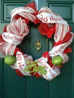 Deco Mesh Christmas Wreath! Check us out on Facebook! http://www.facebook.com/pages/Wreath-This/150245315075169
