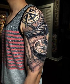 Map & Compass by Fame One, artist and owner at War Kings Tattoo in Orlando, Florida. Map & Compass by Fame One, artist and owner at War Kings Tattoo in Orlando, Florida. Tribal Arm Tattoos, Forarm Tattoos, Forearm Tattoo Men, Maori Tattoos, Navy Tattoos, Best Arm Tattoos, Ship Tattoos, Triangle Tattoos, Samoan Tattoo