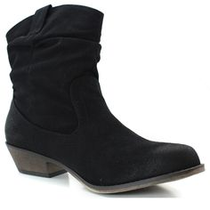 Women's Qupid Fashion Shoes Cowboy Riding Stacked Low Heel Ruched Western Booties Black Color High Heel Oil Finish Boots, 5.5