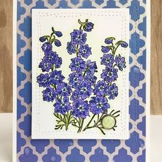 """Della on Instagram: """"Heidi used July's flower, LARKSPUR, on her pretty card.#ibrakeforstamps #ibfs #cardmaking"""" Last Christmas, Christmas Cards To Make, Simple Card Designs, Pool Colors, Distress Oxide Ink, Botanical Flowers, Pretty Cards, Hero Arts, Gel Pens"""