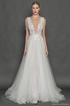 francesca miranda fall 2017 bridal sleeveless thick strap deep v neck heavily embellished bodice butterfly embroidery tulle skirt romantic a  line wedding dress low v back sweep train (aurora) mv