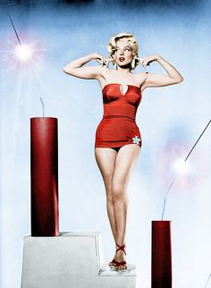 Marilyn Monroe 4th of July 1953 - colorized
