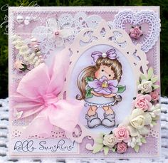 A Sprinkling of Glitter: Special Tilda With Flowers - Addicted To Stamps DT Card