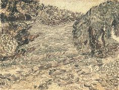 A Corner of a Garden in the Place Lamartine (for Theo Van Gogh) ca. August 6-8, 1888 Reed pen, quill, and ink over graphite on wove paper -Vincent van Gogh.