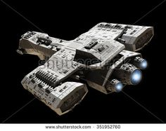 Stock illustration: Science fiction illustration of a spaceship isolated on a black background with blue engine glow, top angled view, digitally rendered illustration. Spaceship Images, Spaceship Art, Spaceship Design, Starcraft, Stargate Ships, Nave Star Wars, Stargate Universe, Starship Concept, Space Engineers