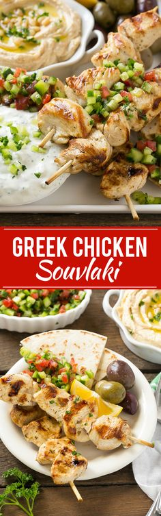 This recipe for greek chicken souvlaki is skewers of tender chicken breast marinated in lemon, garlic and herbs, then grilled to perfection and served with a creamy yogurt sauce. FosterFarmsOrganic AD paleo lunch for men Greek Chicken Skewers, Greek Chicken Souvlaki, Chicken Kabobs, Greek Style Chicken, Grilling Recipes, Cooking Recipes, Healthy Recipes, Turkey Recipes, Chicken Recipes