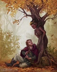 During a halt in the southern Horu forests Vailan Hoghor awaken a fascinated tree spirit with his skillful play on his flute. Fantasy Forest, Medieval Fantasy, Fantasy Art, Magical Creatures, Fantasy Creatures, Character Inspiration, Character Art, Fantasy Places, Human Art