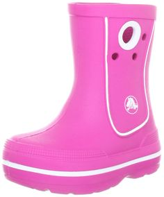 Crocs Crocband Jaunt Rain Boot (Toddler/Little Kid),Fuschia,12-13 M US Little Kid. Rain boot featuring easy-on finger holds at sides and jibbitz charm holes for fun personalization. Sneaker-inspired sporty midsole band. Fully molded croslite construction for lightweight cushioning.