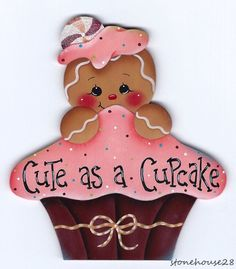 "HP GINGERBREAD ""Cute as a Cupcake"" FRIDGE MAGNET #Handpainted"