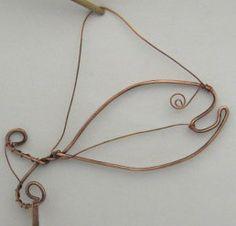 Copper wire fish hanging mobile - ornament - mini jewelry hanger.