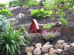 I love how the little red birdhouse I made stands out in the garden.