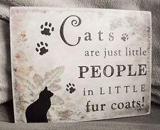Les chats little people, peu de manteaux de fourrure, cat plaque, pet plaque-fait main